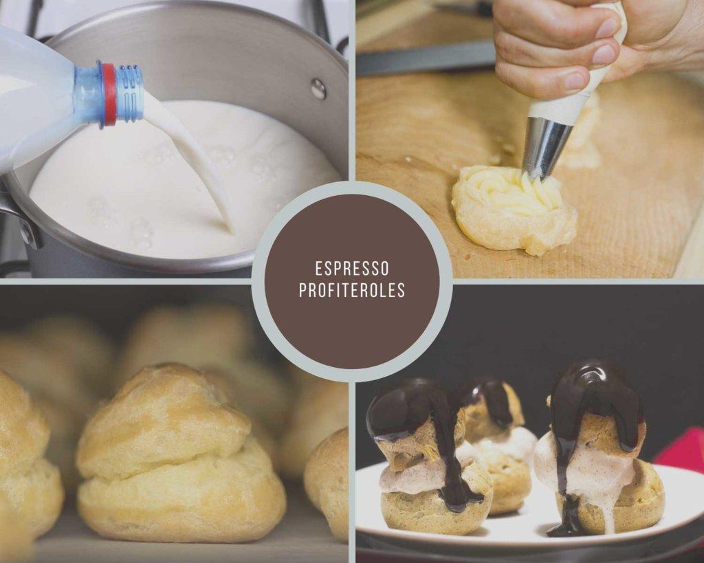 Espresso Profiteroles Process Collage