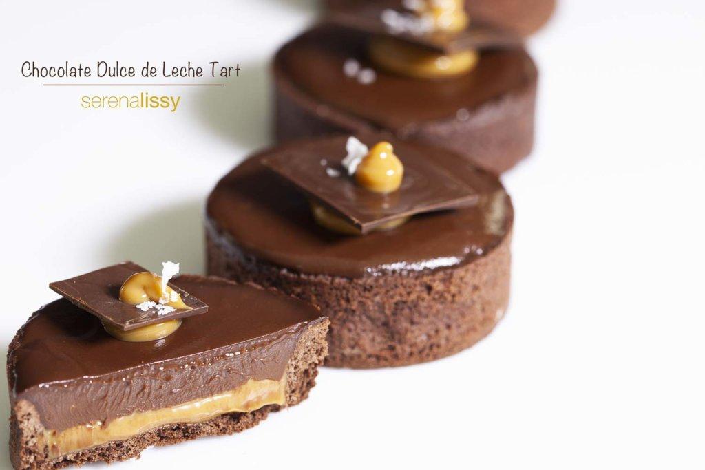 Chocolate Dulce De Leche Tarts on Table