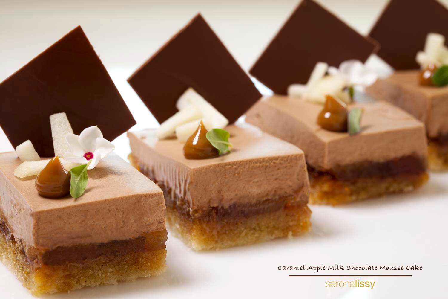 Caramel Apple Mousse Cake on Counter