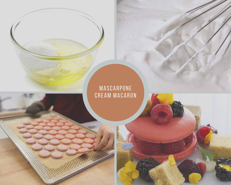 Mascarpone Cream Macaron Process Collage