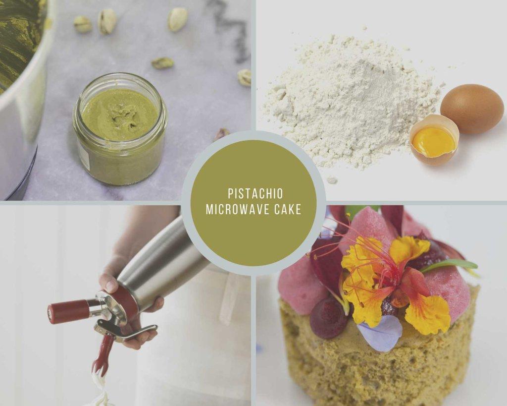 Pistachio Microwave Sponge Cake Process Collage