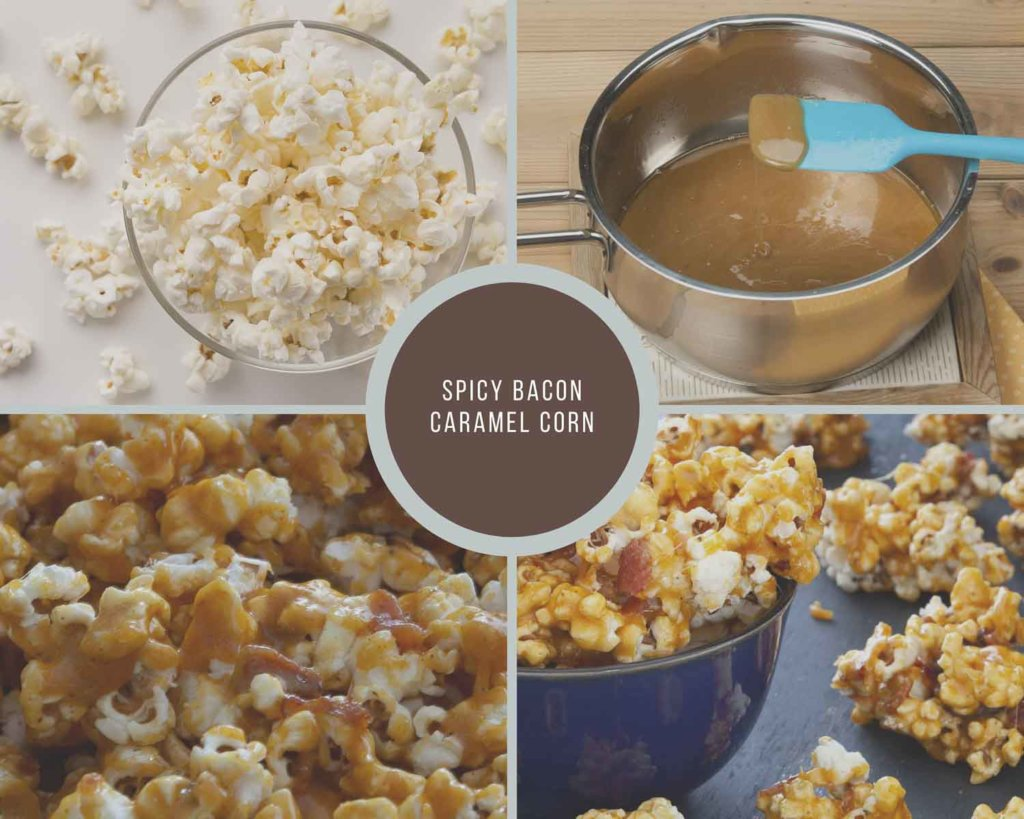 Spicy Caramel Bacon Corn Process Collage