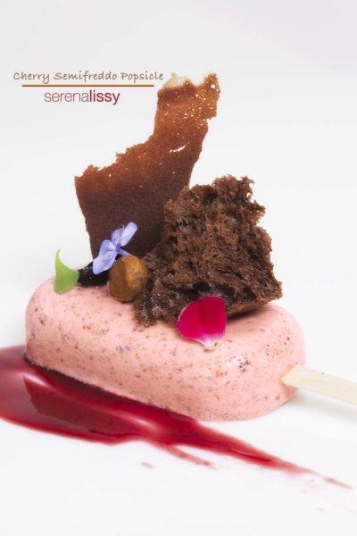 Cherry Semifreddo Popsicle on Plate