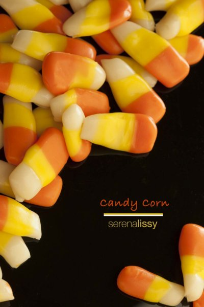 Candy Corn on Black Table