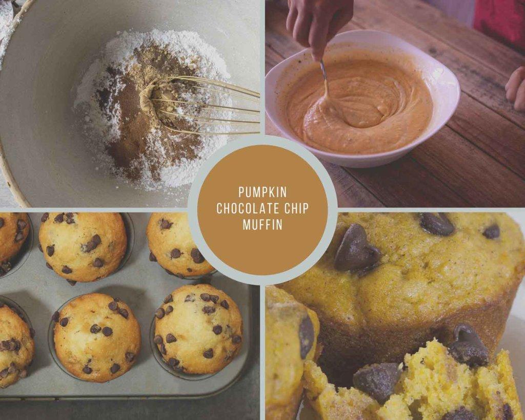 Pumpkin Chocolate Chip Muffins Process Collage