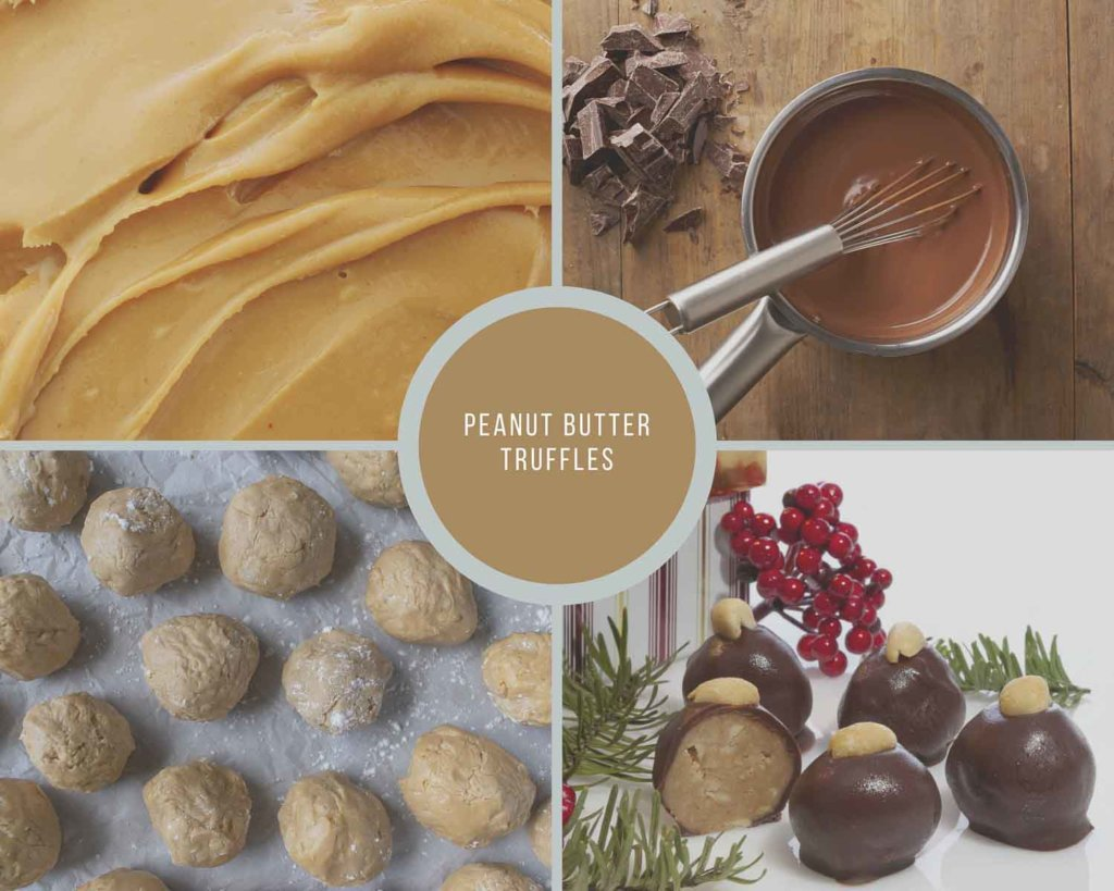Peanut Butter Truffles Process Collage How to Make No Bake Peanut Butter Truffle Buckeyes