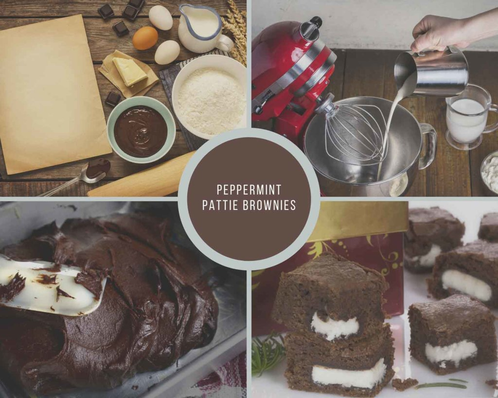 Peppermint Pattie Brownies Process Collage