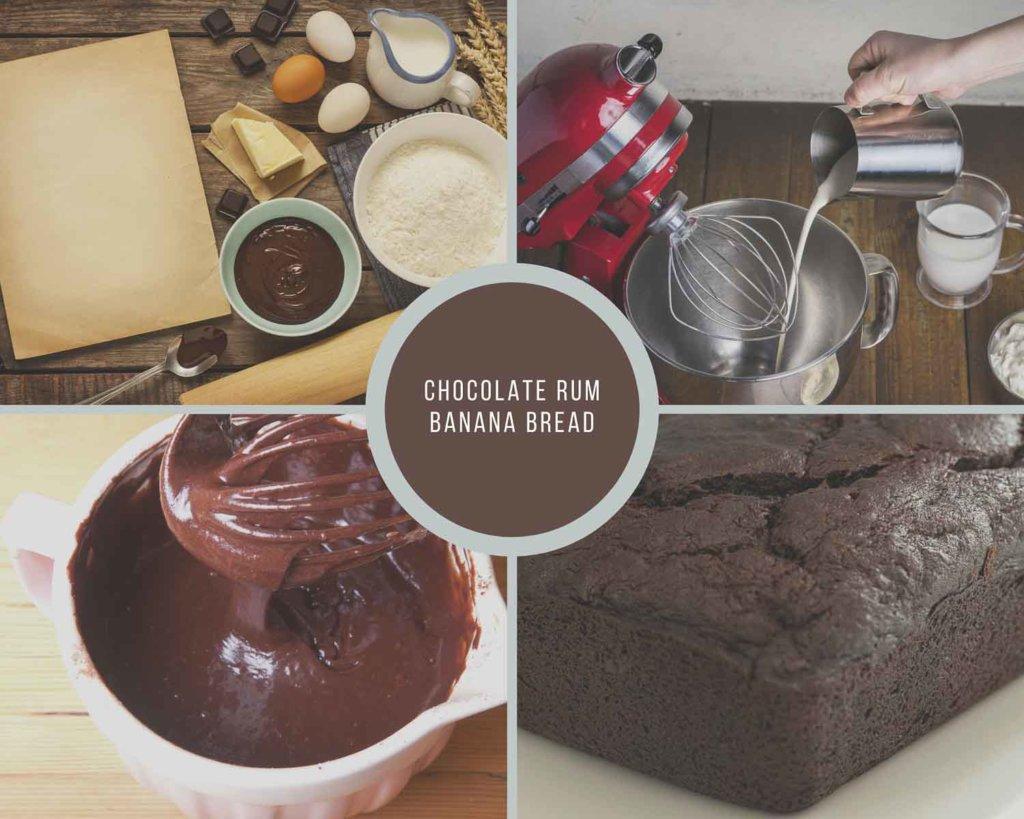 Chocolate Rum Banana Bread Process Collage