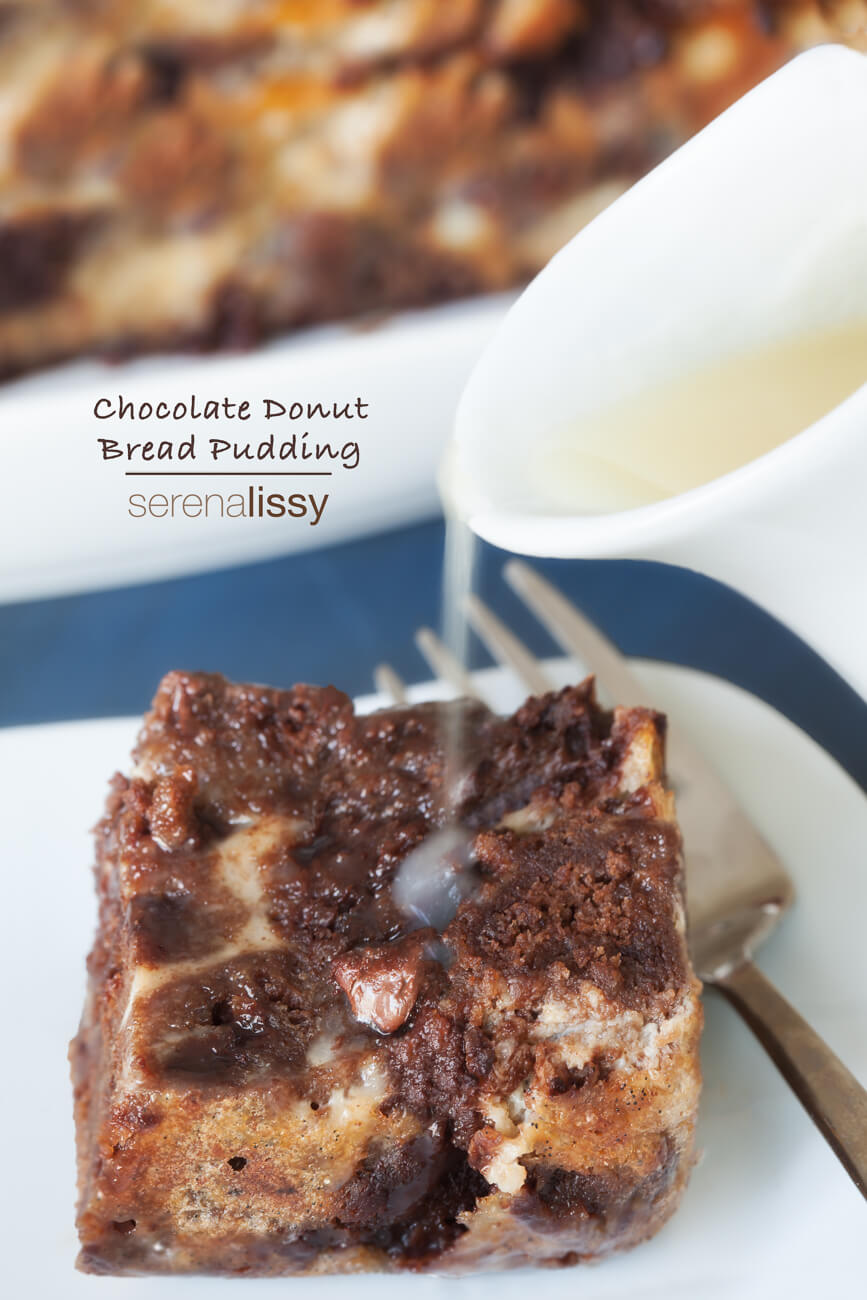 Chocolate Donut Bread Pudding -
