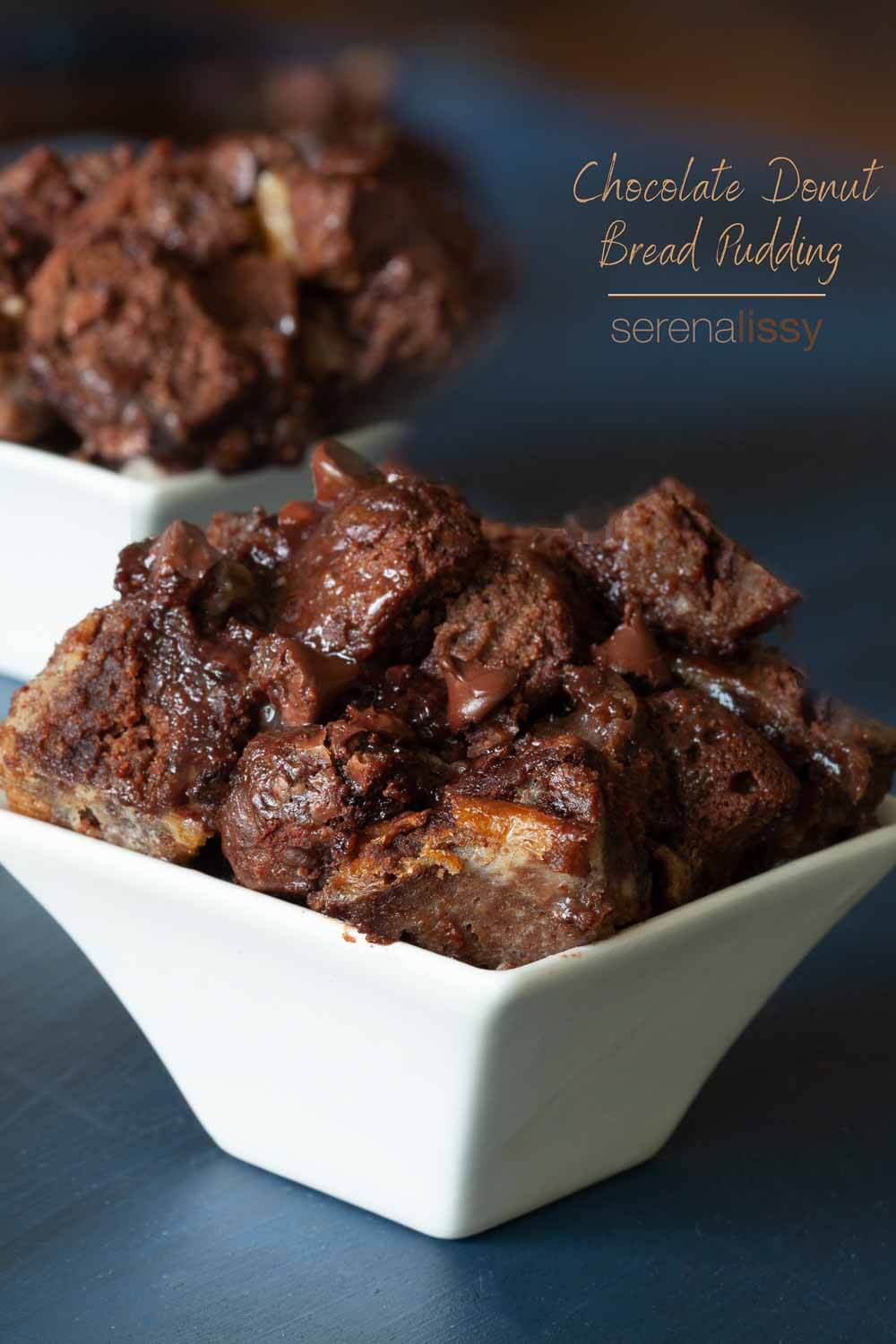 Chocolate Donut Bread Pudding in bowls