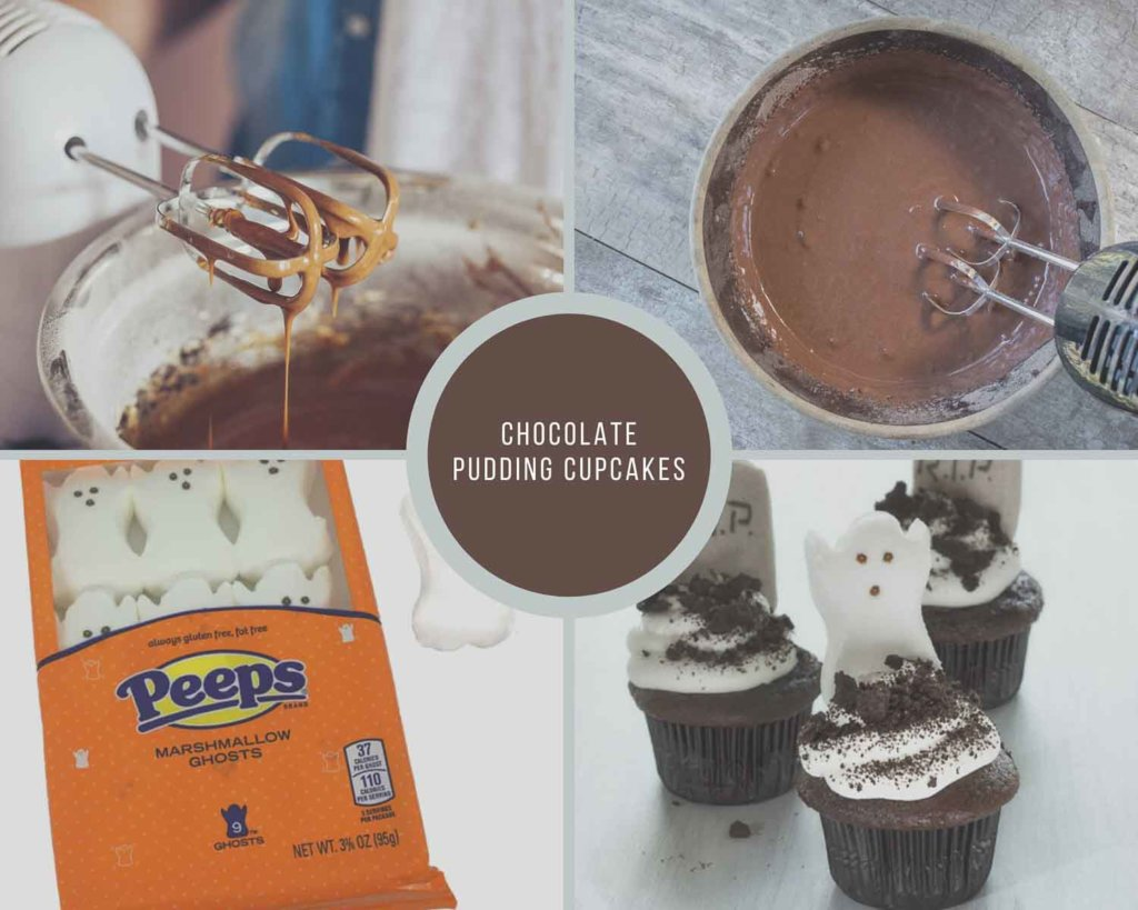 Chocolate Pudding Cupcakes Process Collage