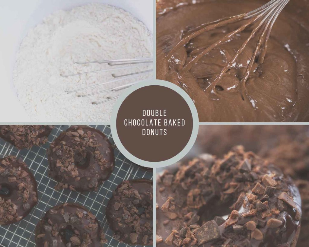 Double Chocolate Baked Donuts Process Collage