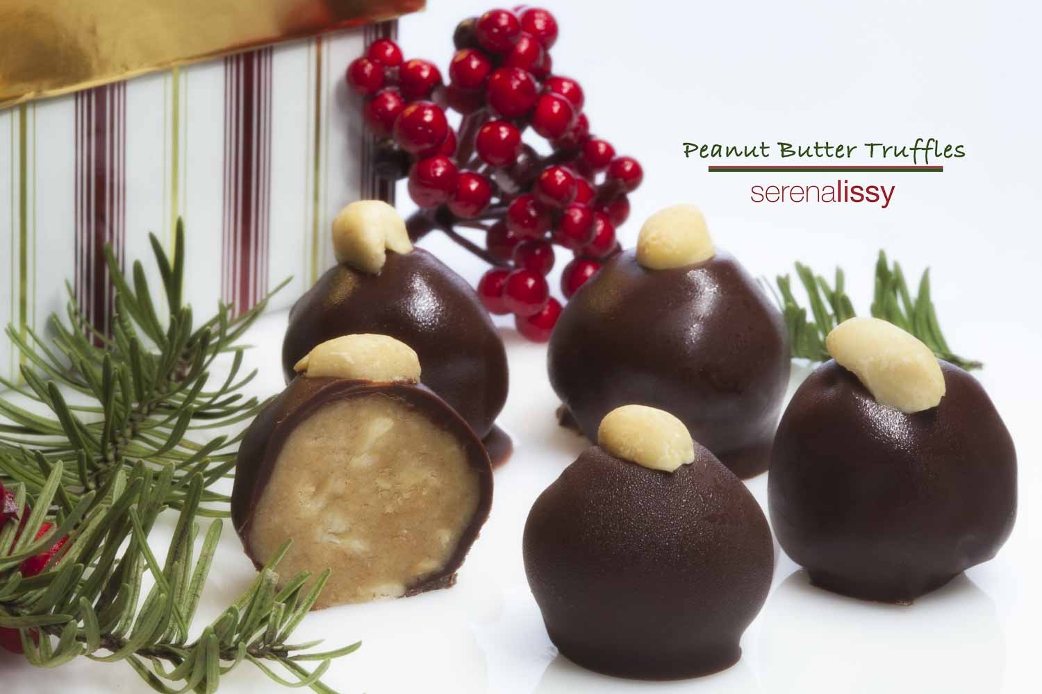 Five peanut butter truffles