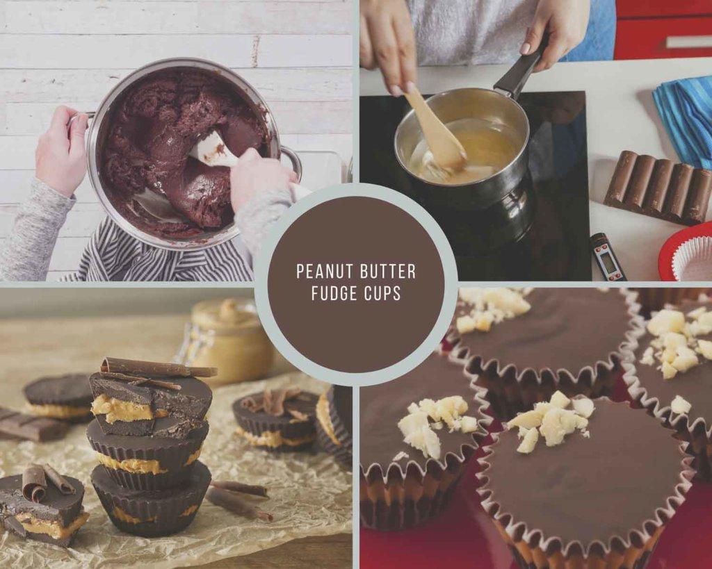 Peanut Butter Fudge Cup Process Collage