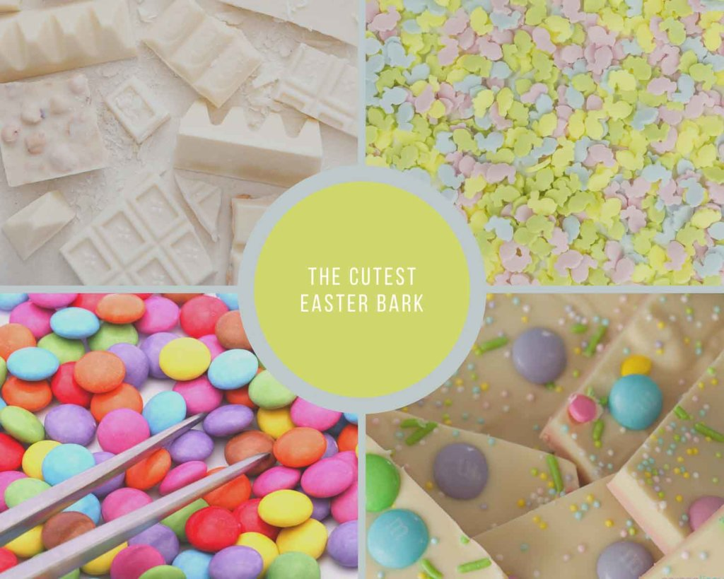 Process of making easter bark with white chocolate and candy