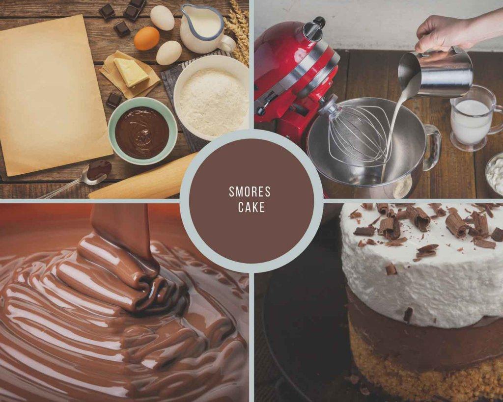 Smores Cake Process