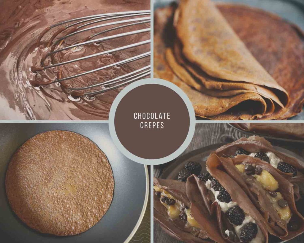 Chocolate Crepes Process Collage