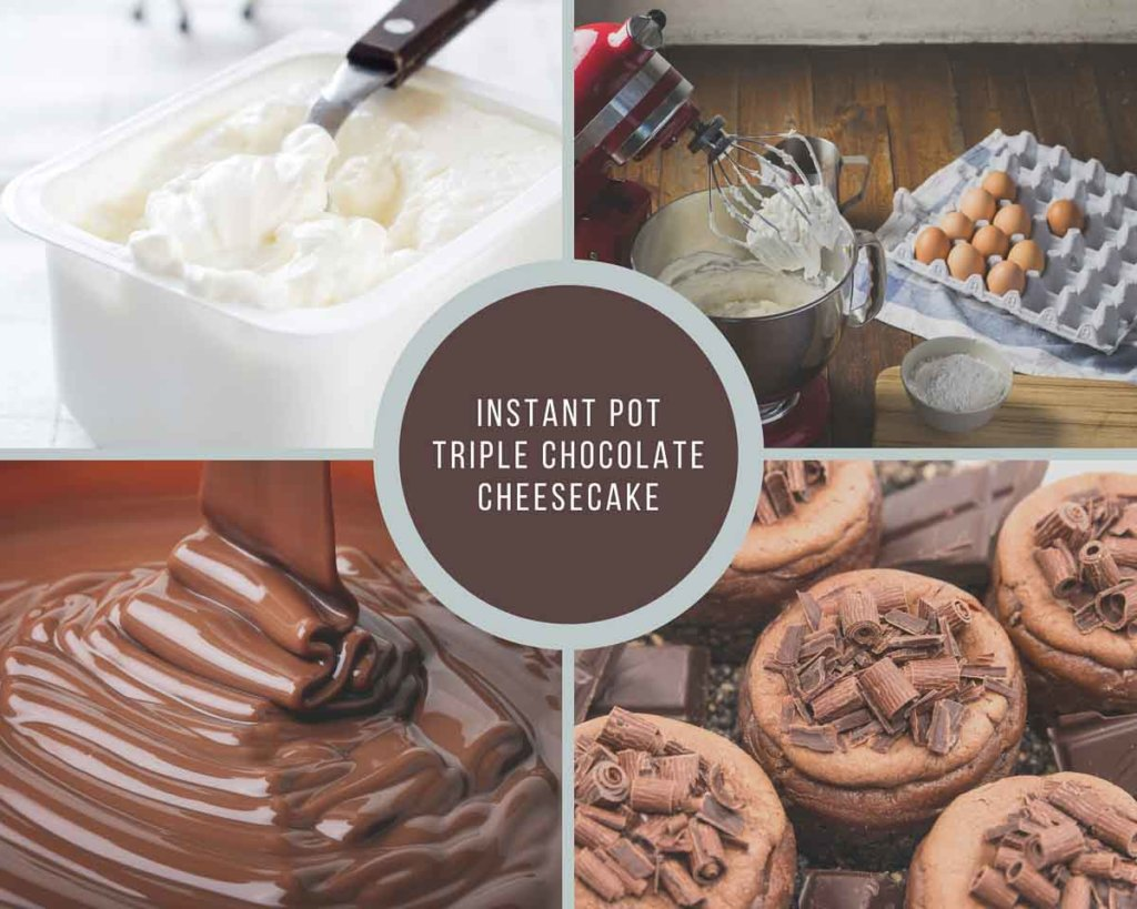 Process of how to make triple chocolate cheesecake in Instant Pot