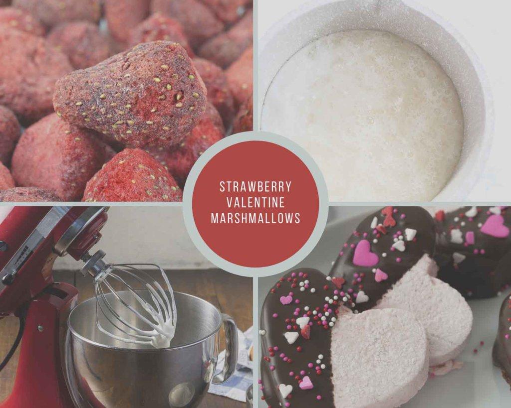 strawberry Valentine Marshmallow Process Collage