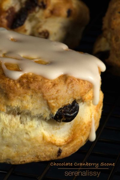 Chocolate Cranberry Scones with dripping icing