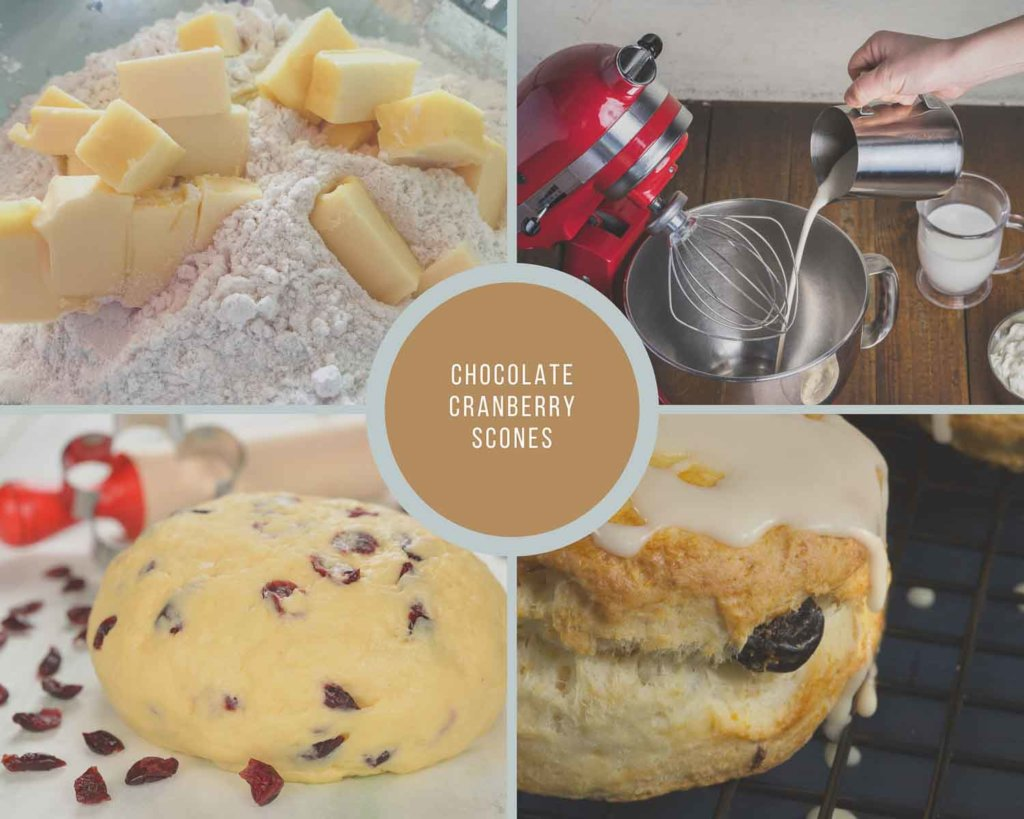 Process Collage for Chocolate Cranberry Scones