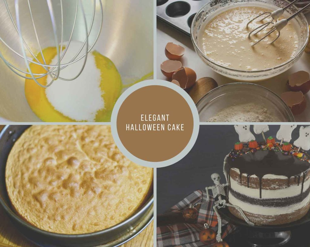 Collage of Process shots for making Elegant Halloween Cake