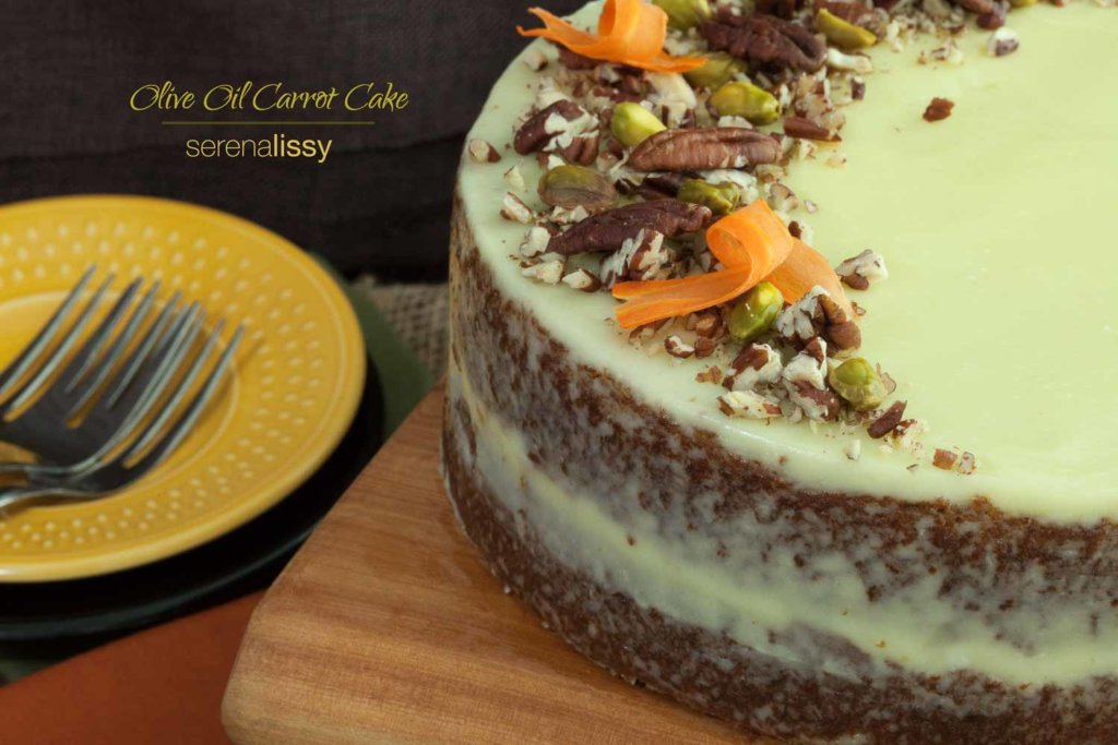 Olive Oil Carrot Cake On Cutting Board