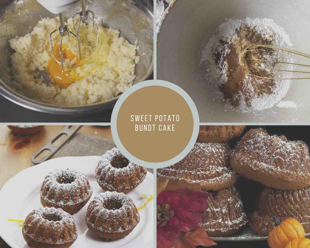 Sweet Potato Bundt Cake Process Collage