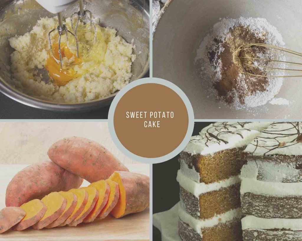 Sweet Potato Cake Process Collage