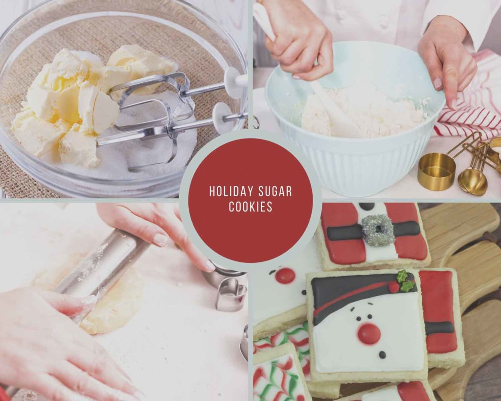 Holiday Sugar Cookies Process Steps and Christmas cookie decorating ideas