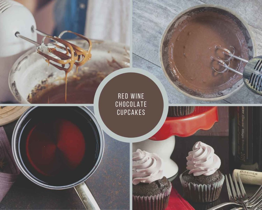 Red Wine Chocolate Cupcake Process Collage