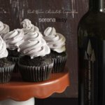 Red Wine Chocolate Cupcakes on cake plate