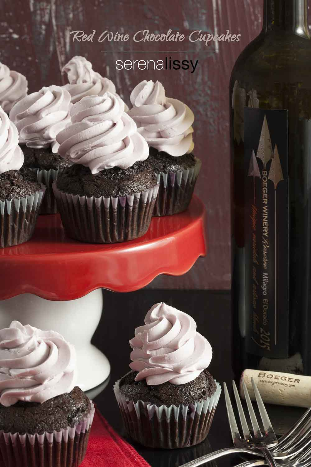 Red Wine Chocolate Cupcakes are infused with a red wine reductions for a rich and flavorful cupcake that's perfect for any celebration.