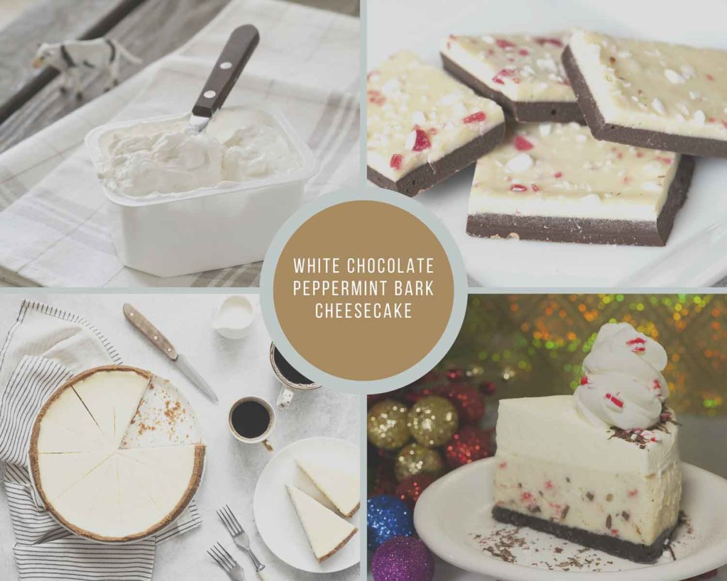 White Chocolate Peppermint Bark Cheesecake Process Collage How to Make Instant Pot Christmas Cheesecake