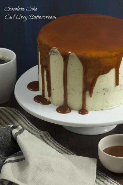 London Fog Cake with Earl Grey buttercream on plate
