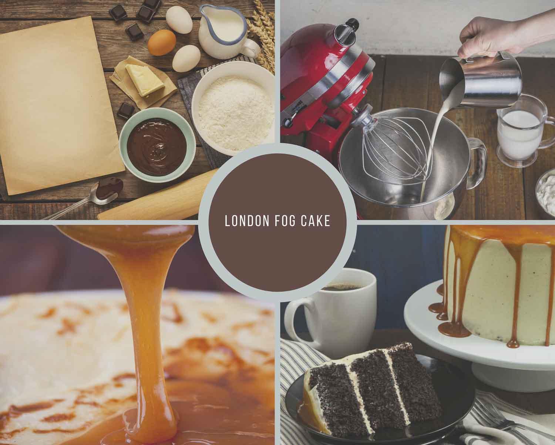 London Fog Cake Process Collage