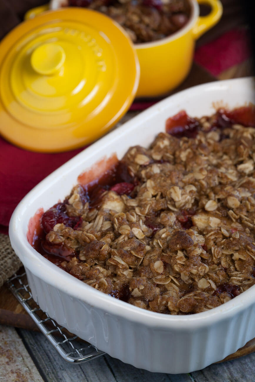 Cranberry Pear Crisp in a serving dish