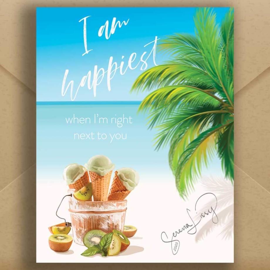 Beach Themed Greeting Card on Envelope