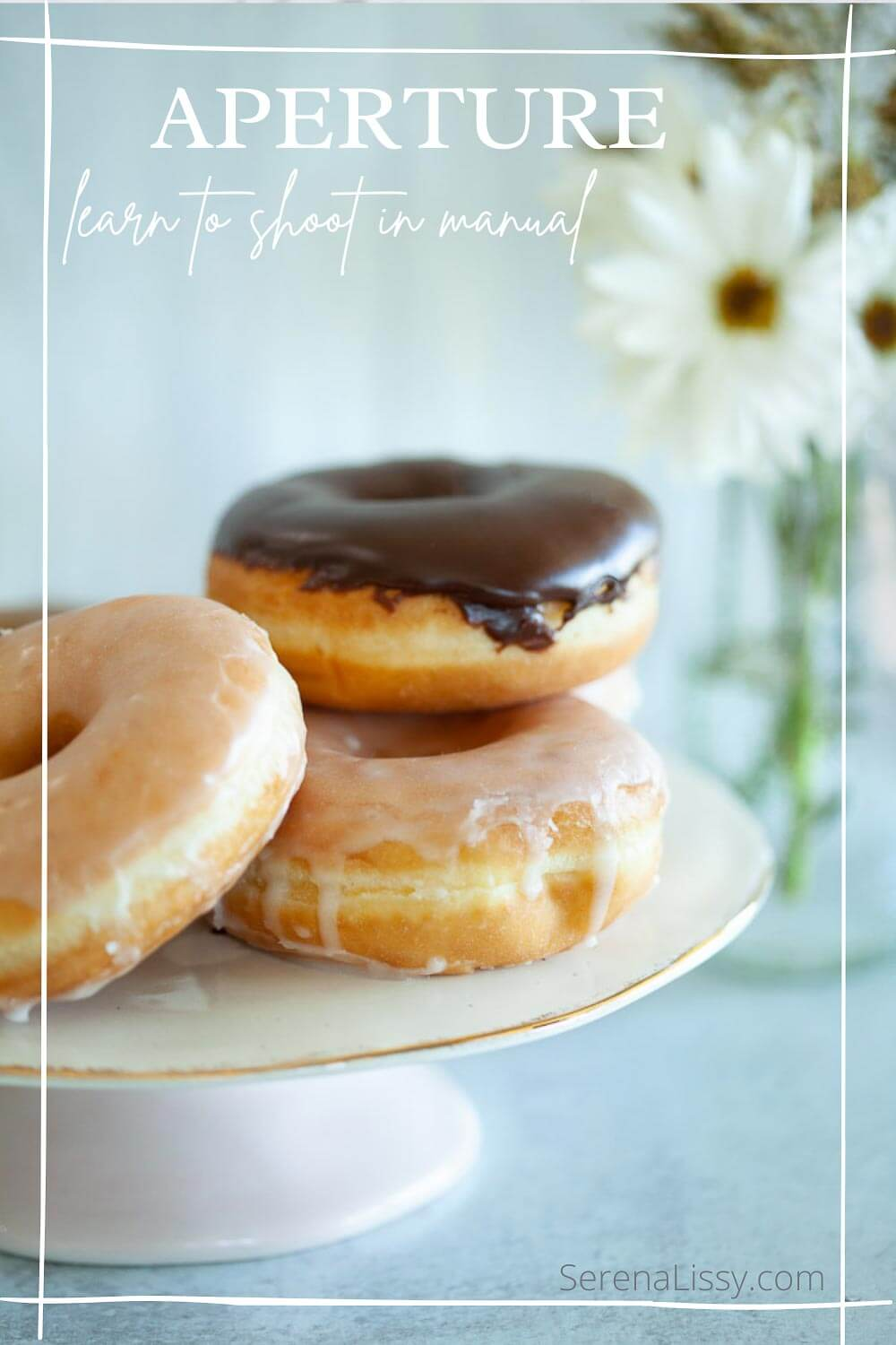 Aperture example of donuts and flowers in background