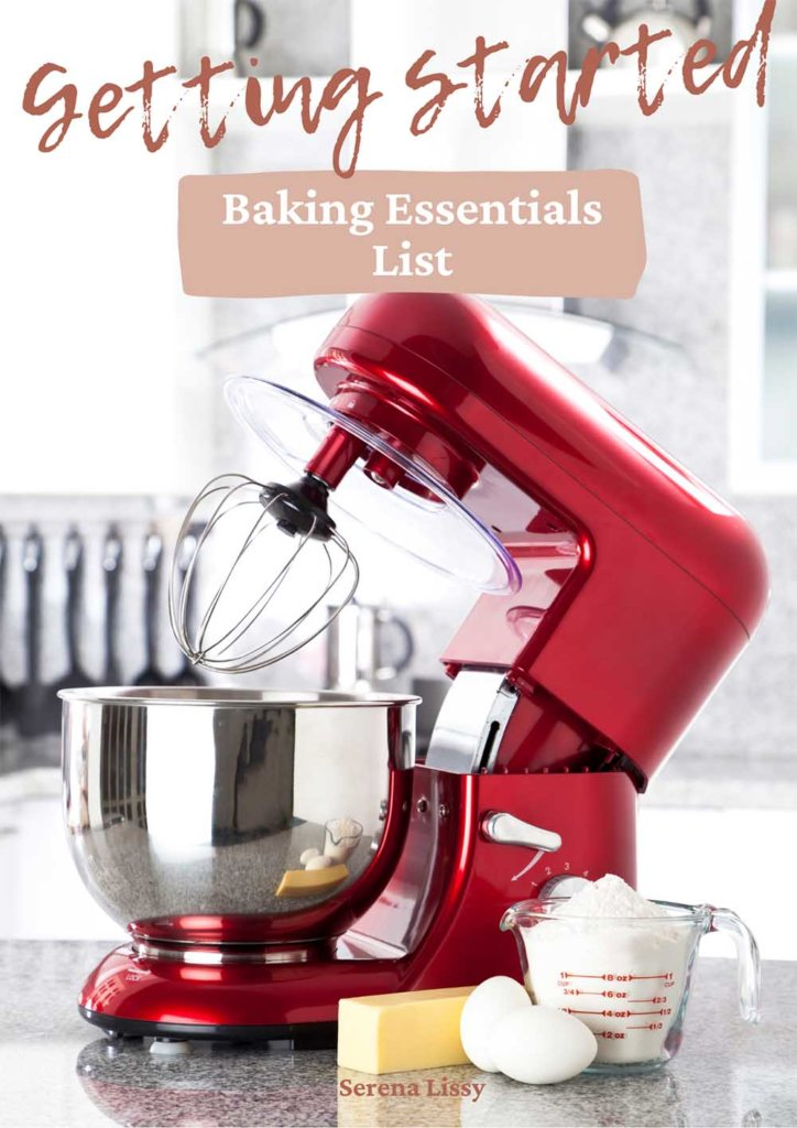 Kitchen aid stand mixer on counter with butter and eggs