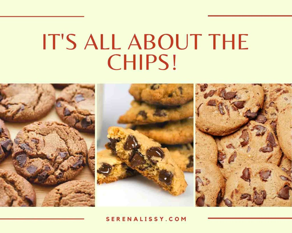 Three images of chocolate chips