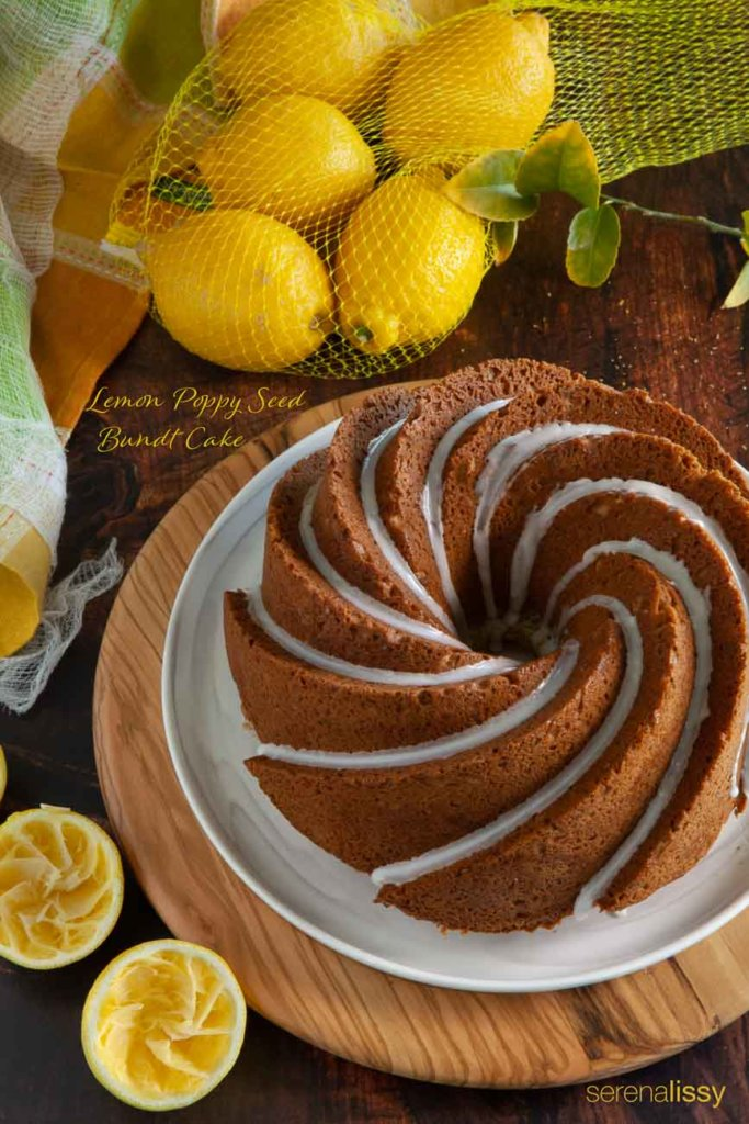 Lemon Poppy Seed Bundt Cake Completed on Plate