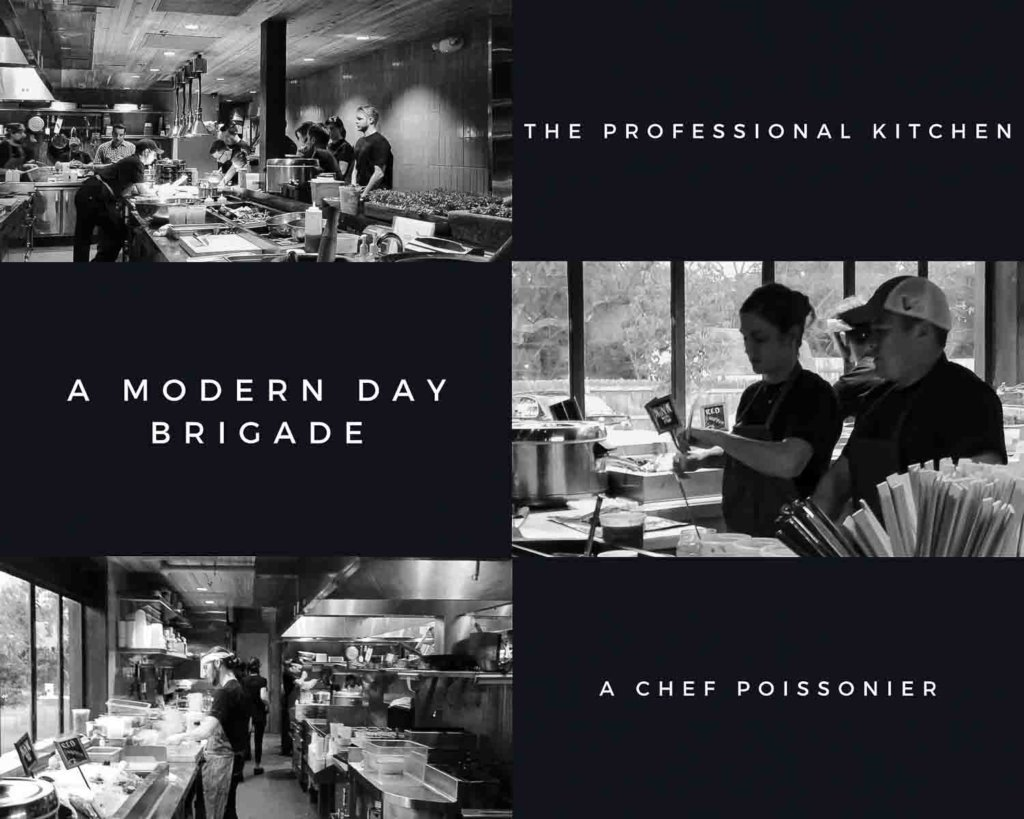 Three images of a modern working kitchen