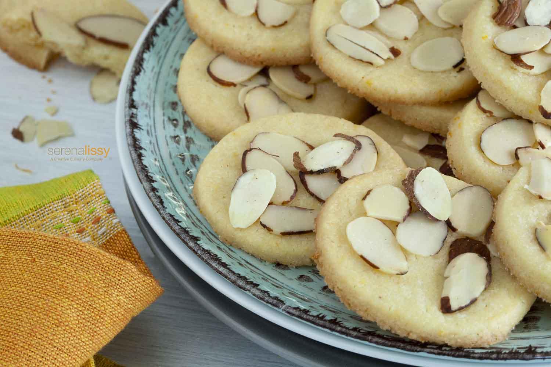 Orange Almond Shortbread Cookies on Plate