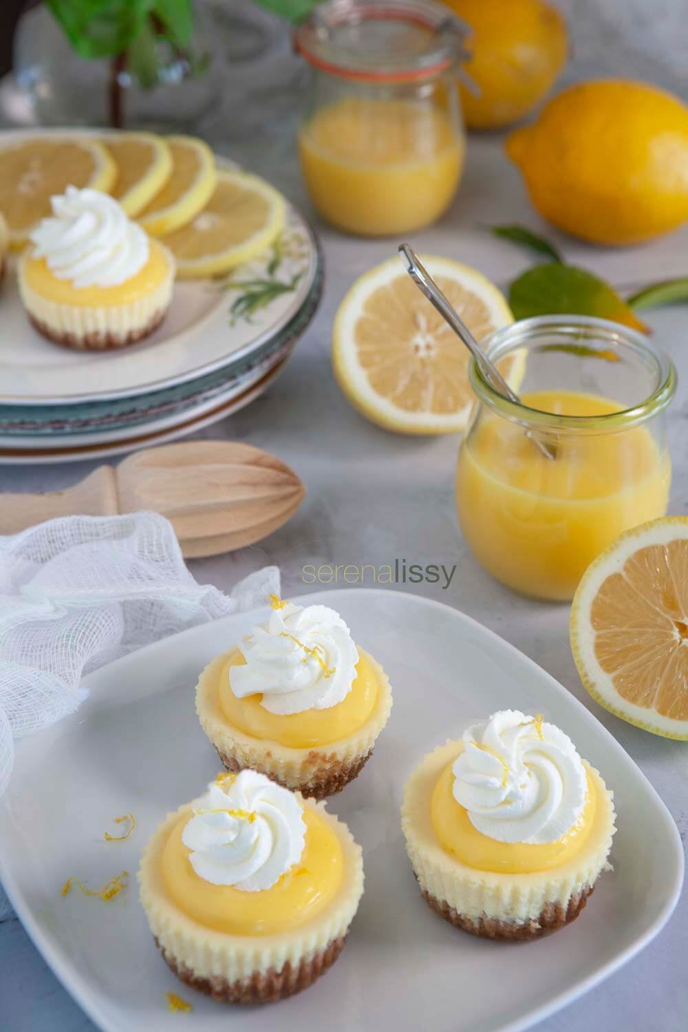 Lemon Cheesecake Bites on plate