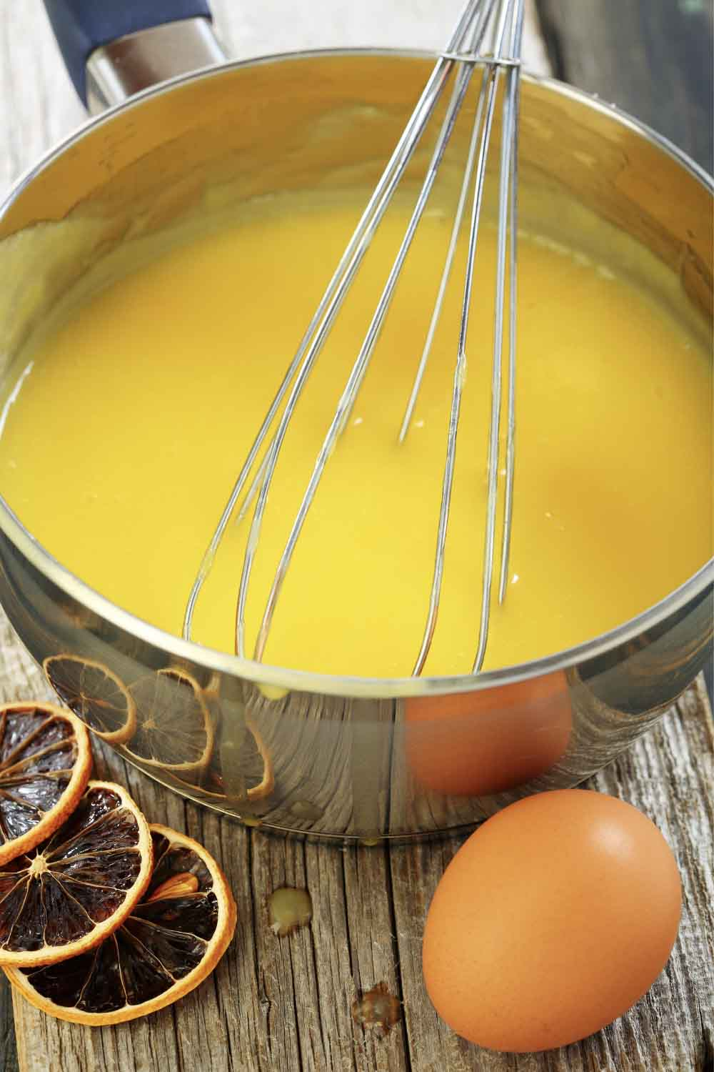 Pot of Lemon Curd with Whisk