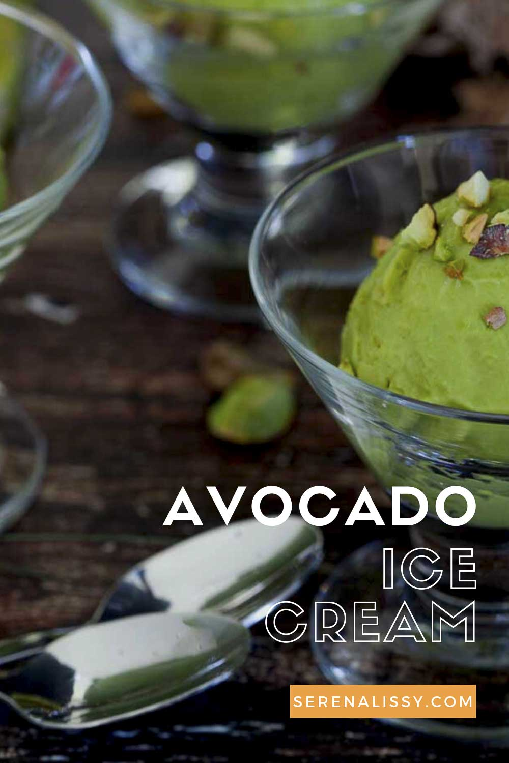 Avocado Ice Cream in bowl with spoon