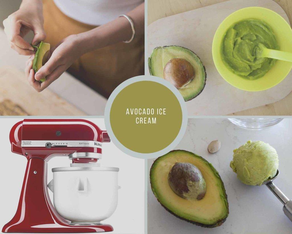 Avocado Ice Cream Process Collage