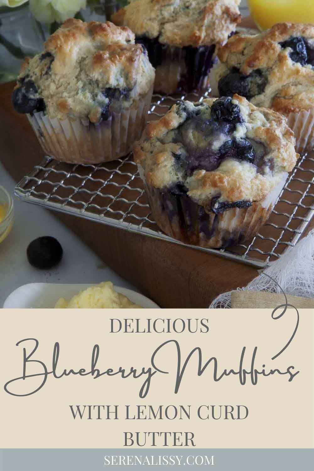 Delicious Blueberry Muffins on Cooling Rack