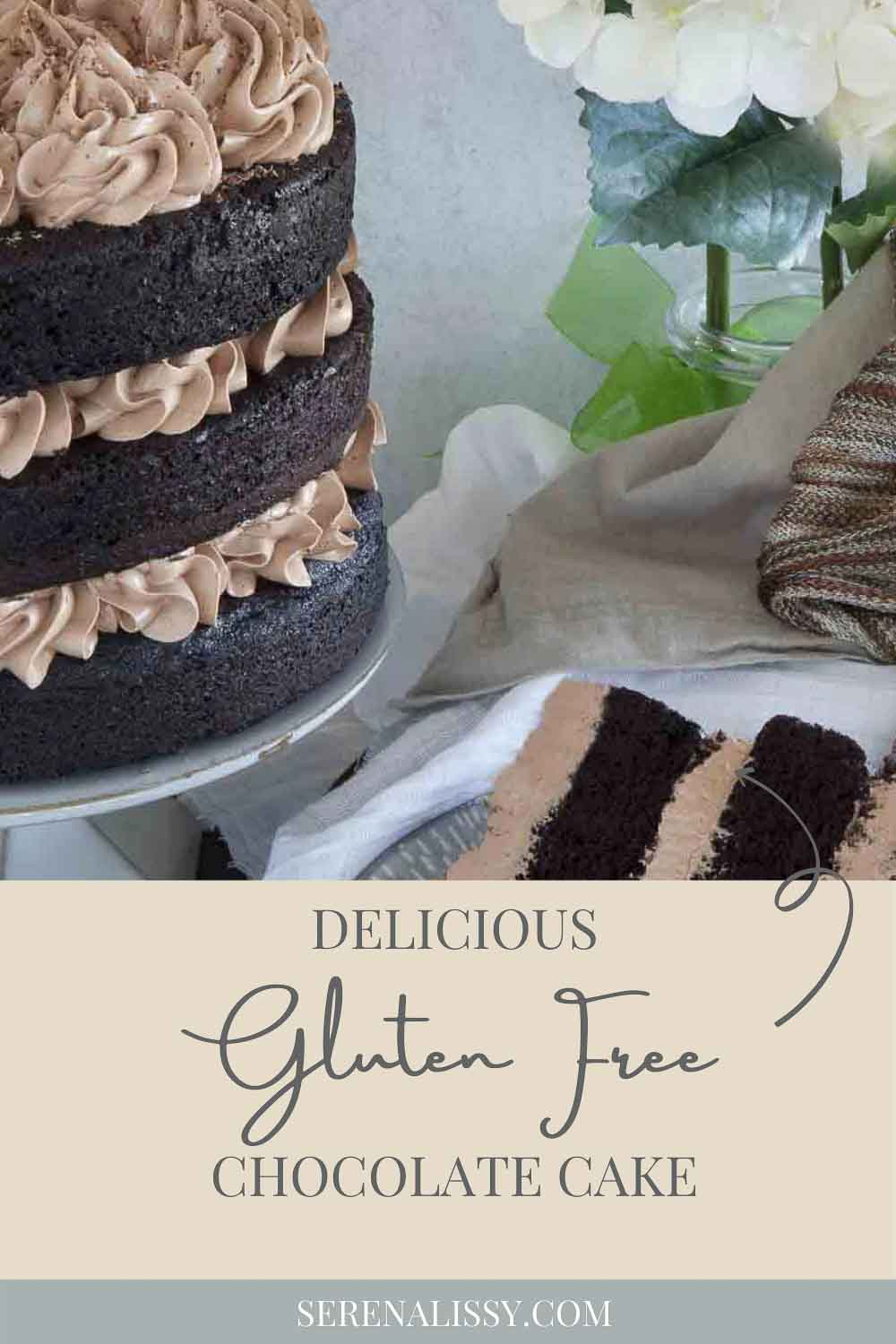 Completed Gluten Free Chocolate Cake on Cake Stand